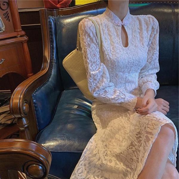 小禮服 2021新款改良旗袍年輕款少女晚禮服回門奶兇法式蕾絲連身裙女春秋 非凡小鋪 新品