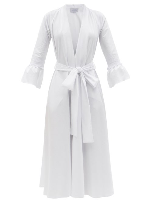 Luisa Beccaria - Belted Striped Cotton-blend Midi Dress - Womens - White