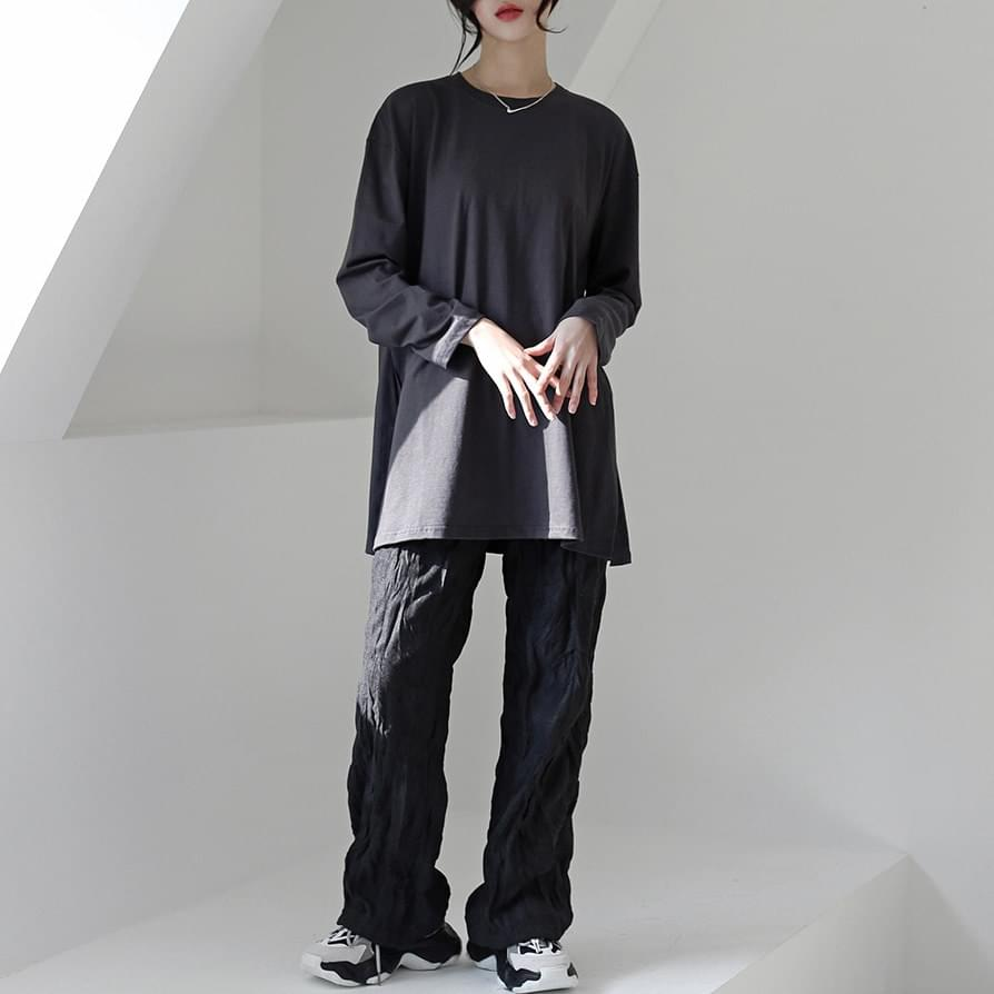 韓國空運 - Romy slit long T-shirt 長袖上衣