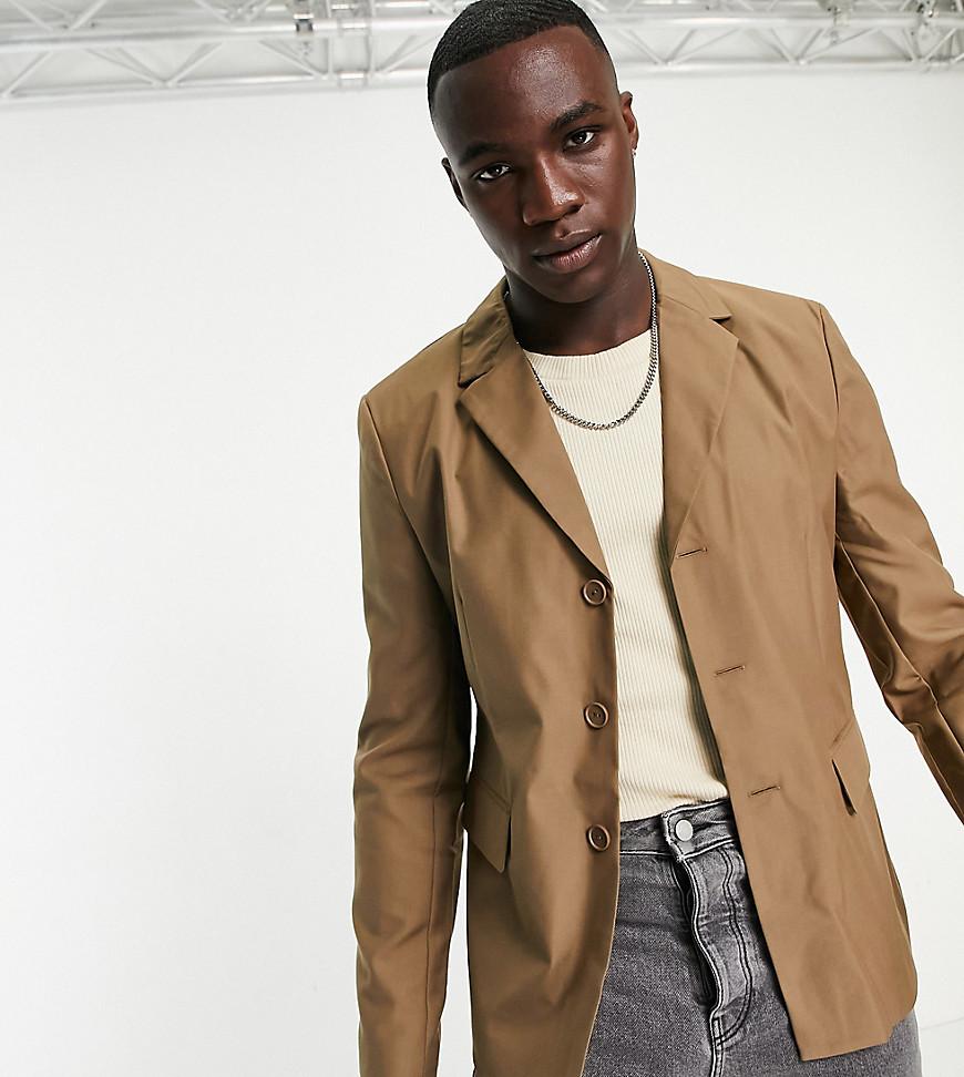 COLLUSION slim blazer in brown