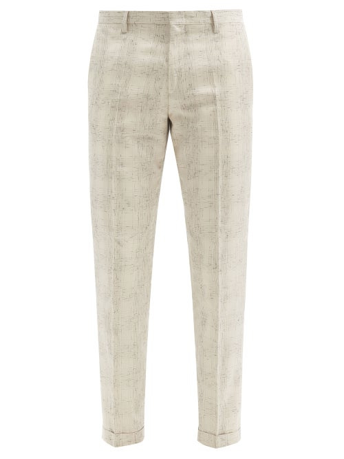 Paul Smith - Heathered-check Twill Trousers - Mens - Beige