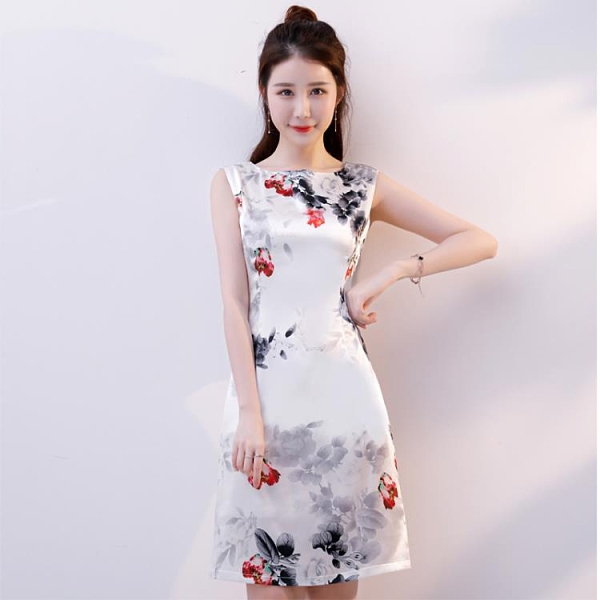 旗袍 旗袍夏季2021新款女中長款改良連身裙復古少女時尚日常修身旗袍裙  美物 99免運