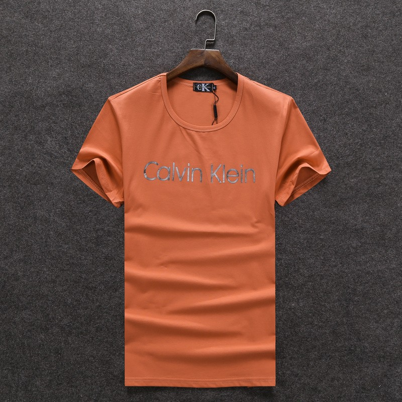 CK圓領 CK經典款 夏季新款 男女情侶衣T-shirt 大Logo 衣服短袖 休閒短T 732橘黄色