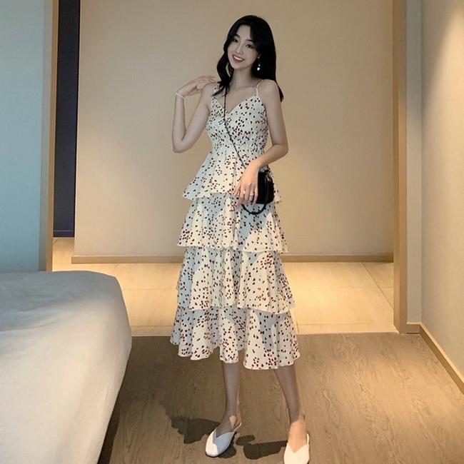 FOFU-愛心小碎花法國設計款高腰層層蛋糕裙中長裙吊帶連身裙【08SG06115】