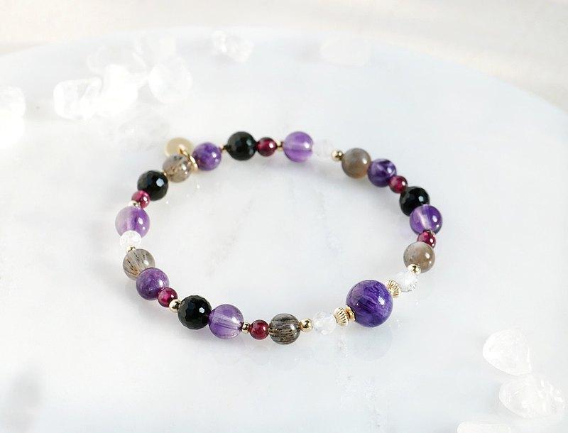 紫煥暖光 紫龍晶紫水晶黑太陽骨幹水晶手鍊-智慧守護