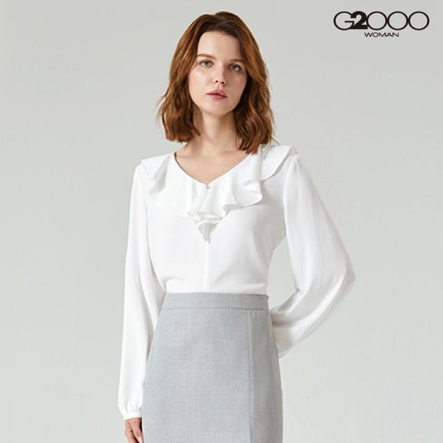 G2000時尚素面長袖休閒上衣-白色