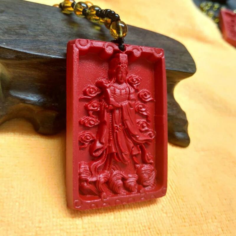 天上聖母天后媽祖硃砂掛牌護身符項鍊(附琉璃珠鏈)