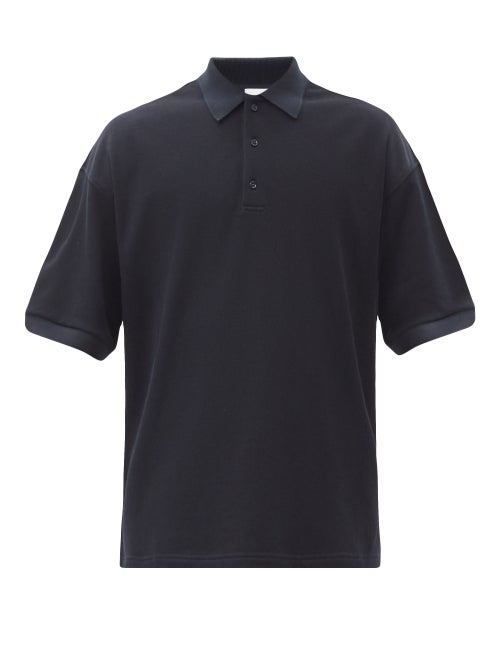 Raey - Oversized Cotton-piqué Polo Shirt - Mens - Navy