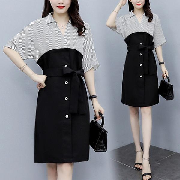 短袖洋裝大尺碼L-5XL8293韓版條紋拼接時尚寬松假兩件襯衫減齡胖mm洋氣連身裙NC21韓衣裳