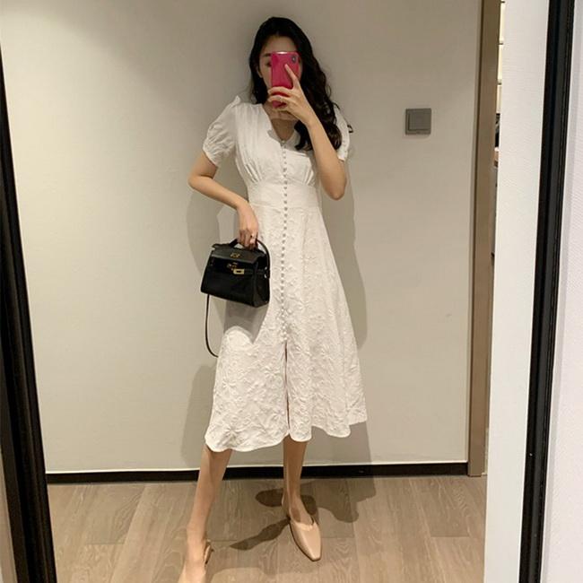FOFU-韓版法式復古排扣設計V領白裙子仙女長裙泡泡袖連身裙【08SG06161】