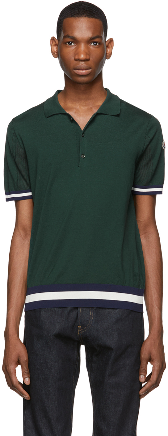 Moncler 绿色平针 Polo 衫