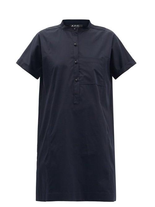A.P.C. - Temple Cotton-blend Poplin Mini Shirt Dress - Womens - Navy