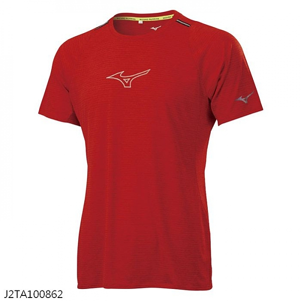 MIZUNO 男裝 短袖 T恤 吸汗快乾 前胸反光印花 兩肩反光織帶 紅【運動世界】J2TA100862