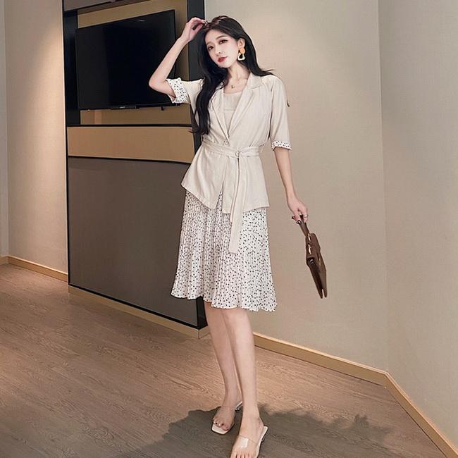 FOFU-韓版女裝夏季拼接圓點吊帶裙+薄外套防嗮衣套裝【08SG06089】