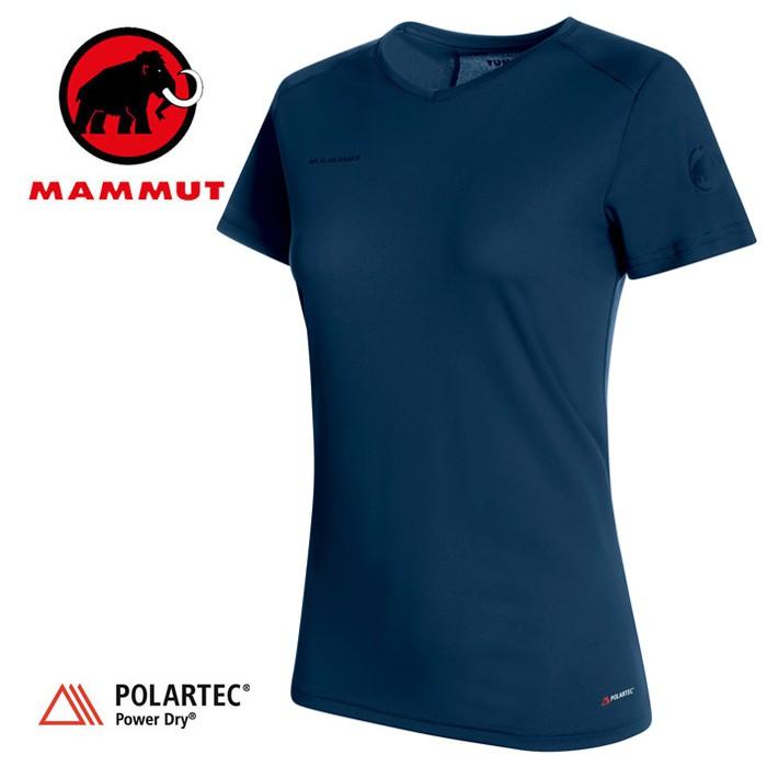 【Mammut 長毛象 瑞士】Sertig 短袖排汗衣 運動上衣 機能衣 短T 女款 藏青色 (00140-50125)