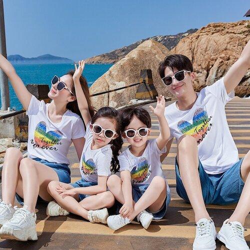 ★韓版JX-S2020《永遠在一起-彩色心》短袖親子裝@四件組