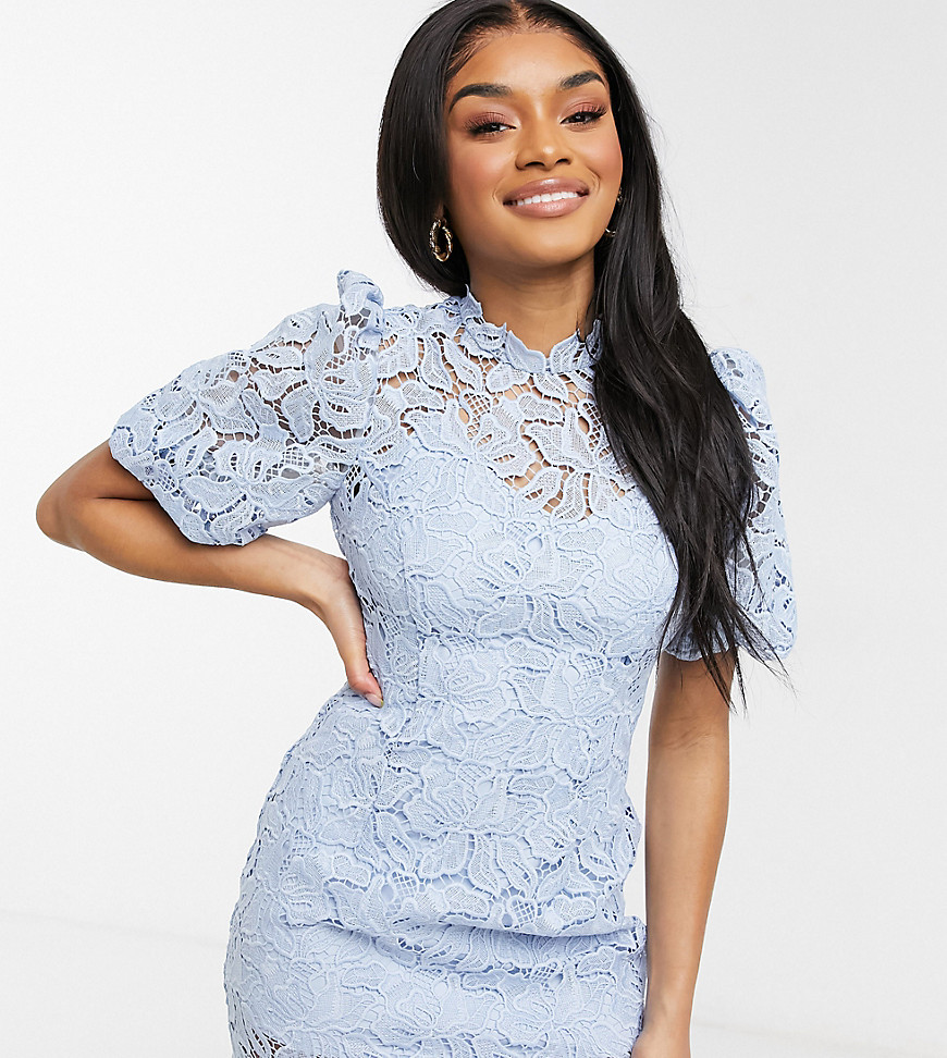 Forever New Petite puff sleeve high neck lace mini shift dress in blue