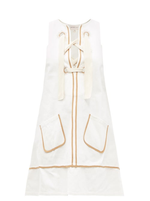 Wiggy Kit - Edgar Laced Cotton-canvas Mini Dress - Womens - Cream