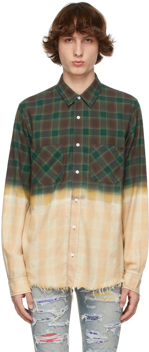 AMIRI 绿色 Bleached Shadow 格纹衬衫