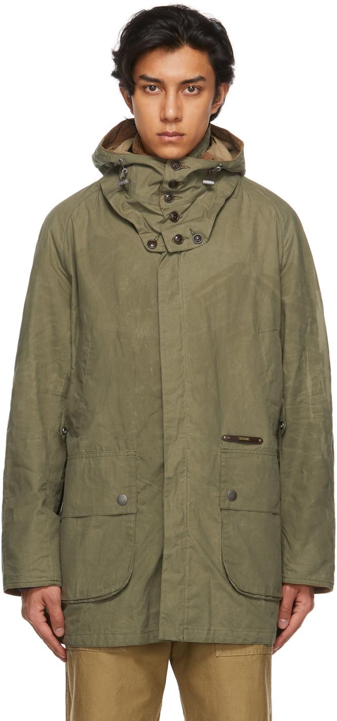 Barbour 军绿色 Beaufort 大衣