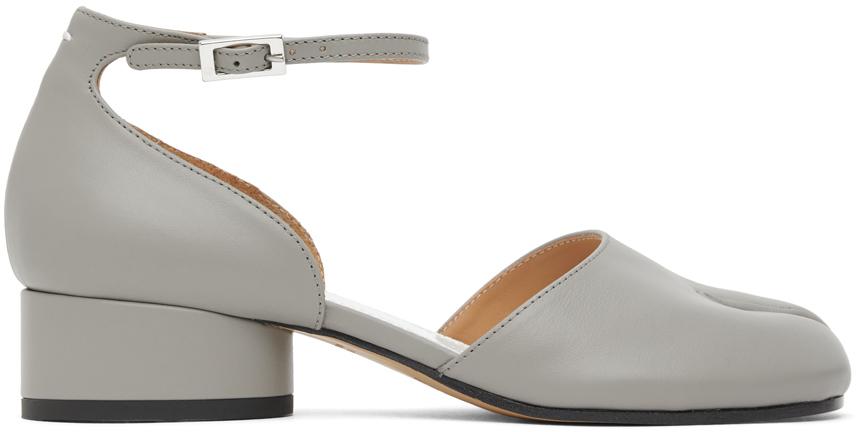 Maison Margiela SSENSE 独家发售灰色 Tabi 踝带低跟鞋