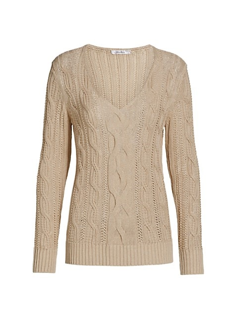Peplo Linen Cableknit V-Neck Sweater