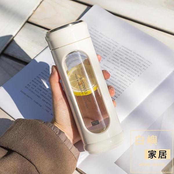 雙層隔熱防摔玻璃水杯子男士女款學生簡約水瓶【白嶼家居】
