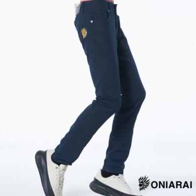 鬼洗 BLUE WAY – 雙色小鬼頭LOGO低腰直筒褲(藏青)