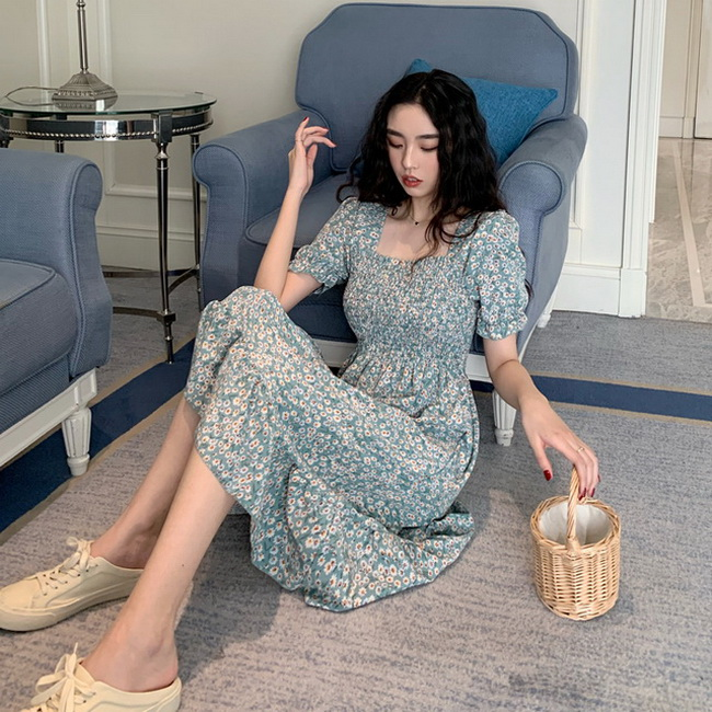 FOFU-韓版女裝甜美法式方領褶皺收腰顯瘦碎花高腰仙女連身裙【08SG06072】