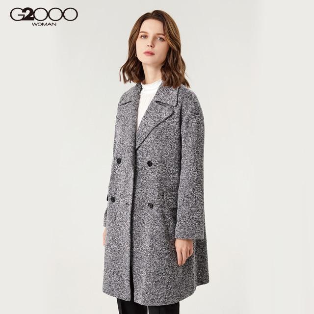 G2000時尚素面針織大衣-深灰色