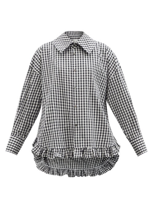 Comme Des Garçons Girl - Ruffled-hem Gingham Cotton Shirt - Womens - Black White