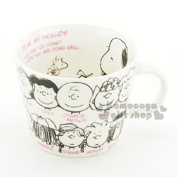 小禮堂 史努比 日製陶瓷湯杯《白.多角色.大臉 .400ml》日本大西賢精緻陶瓷 4981181-75476