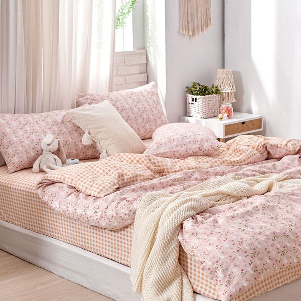 床包被套組(鋪棉兩用被套)-雙人/200織/ 精梳棉四件式 / 白兔向暖 台灣製