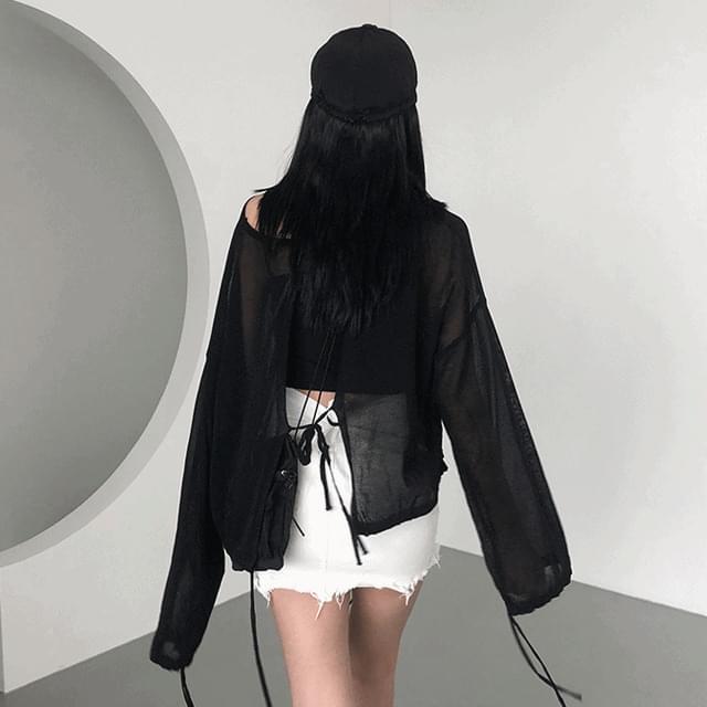 韓國空運 - Split Gauze Sleeve (Black) 長袖上衣