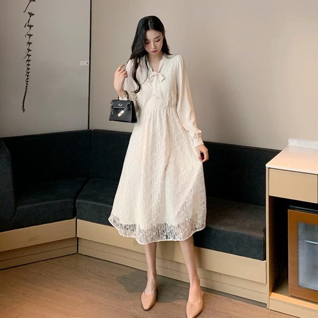 FOFU-韓版女裝長袖連身裙女氣質顯瘦中長版法式蕾絲裙子收腰【08SG06010】