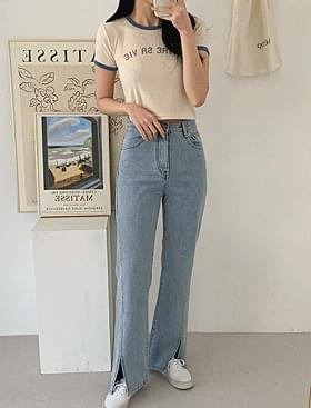 韓國空運 - Diagonal Slit Denim PT ♥ Long ~ Directed with legs 牛仔褲