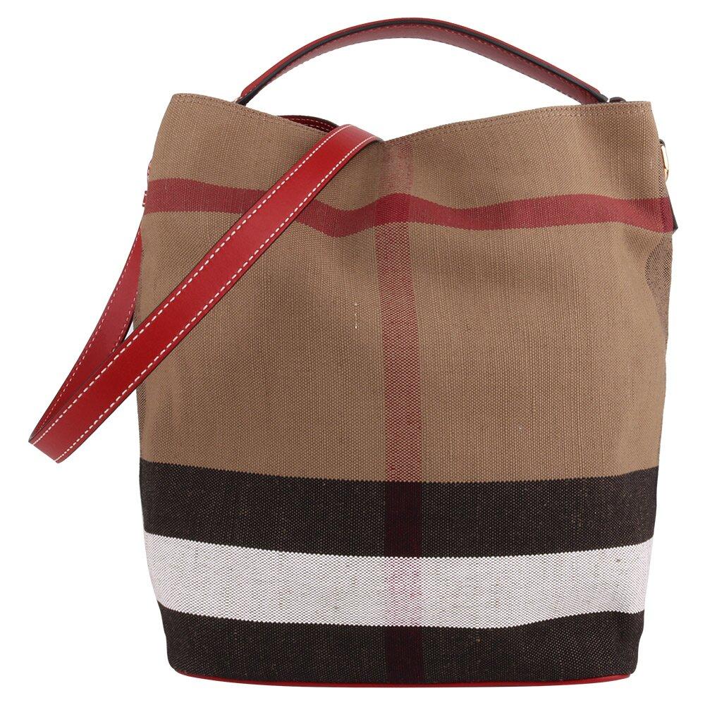 BURBERRY   The Ashby棉麻格紋附拉鍊袋手提肩背水桶包(卡其紅/中)  (160000-07)
