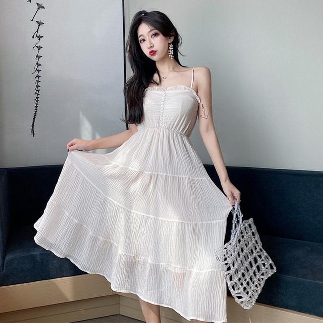 FOFU-韓版女裝木耳邊高腰顯瘦法式設計款桔梗裙吊帶連身裙【08SG06172】