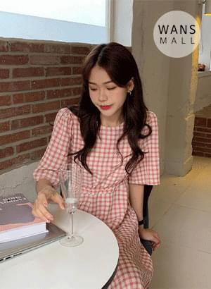 韓國空運 - op4125 Herrington Check Long Dress 長洋裝