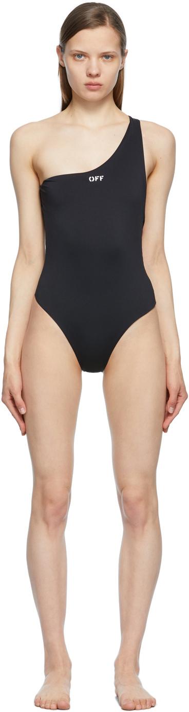 Off-White 黑色徽标连体泳衣