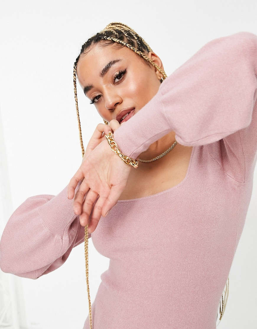 NA-KD lightweight knit balloon sleeve top in dusty pink