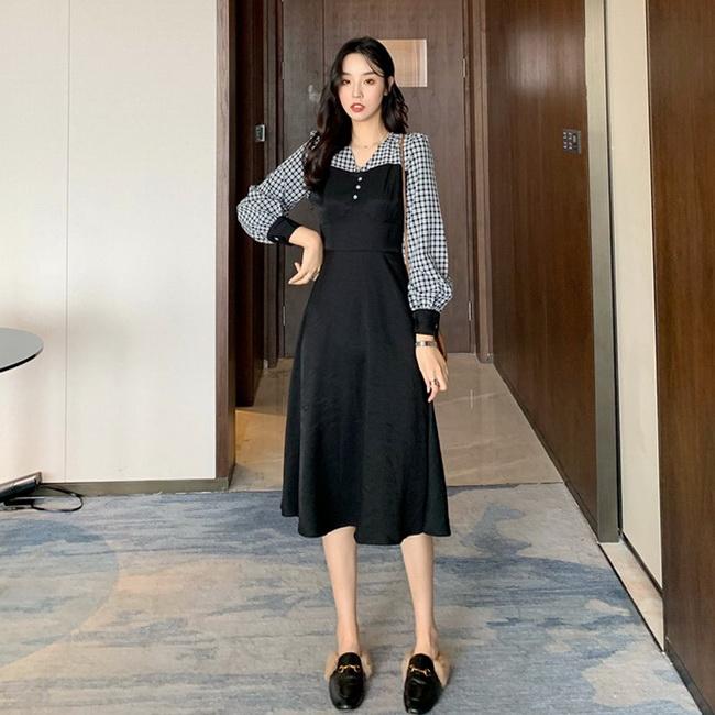 FOFU-法式復古黑色長袖裙收腰顯瘦顯高小黑裙格子氣質連身裙【08SG06007】