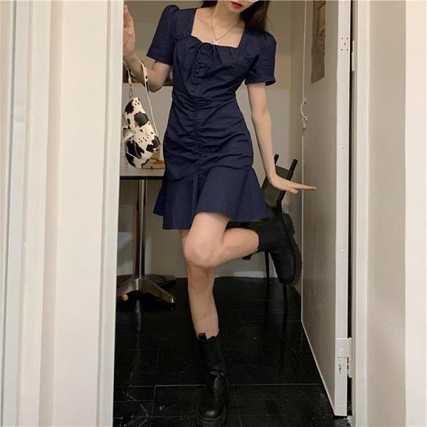 方領洋裝 2021夏季新款韓版小清新復古方領綁帶設計感玫瑰中長款連身裙女潮 非凡小鋪 新品