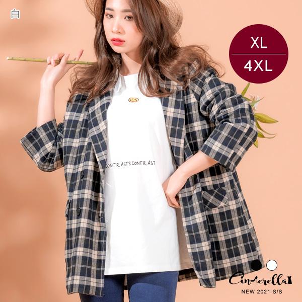 【ITS6102】210312笑臉字母圓領上衣  XL-4XL (預購)