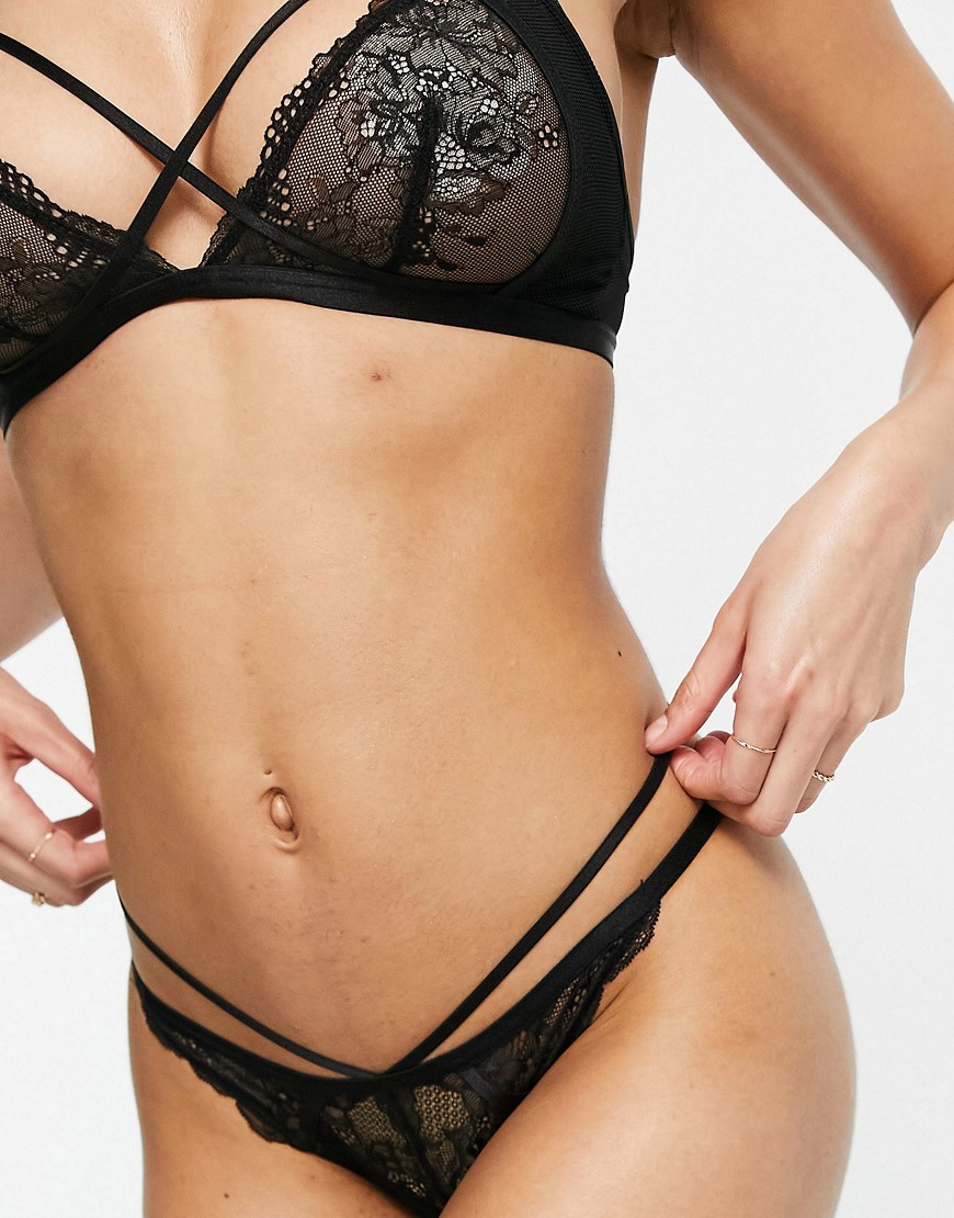 ASOS DESIGN Amber lace double strap thong-Black