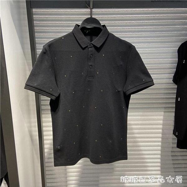 男士夏裝時尚休閒保羅衫刺繡個性短袖POLO衫B1DBA2667 快速出貨