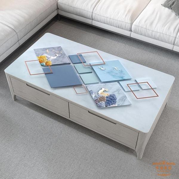 pvc桌墊 網紅3D印花茶几桌布簡約卡通防水防油防燙PVC軟玻璃客廳ins餐桌墊