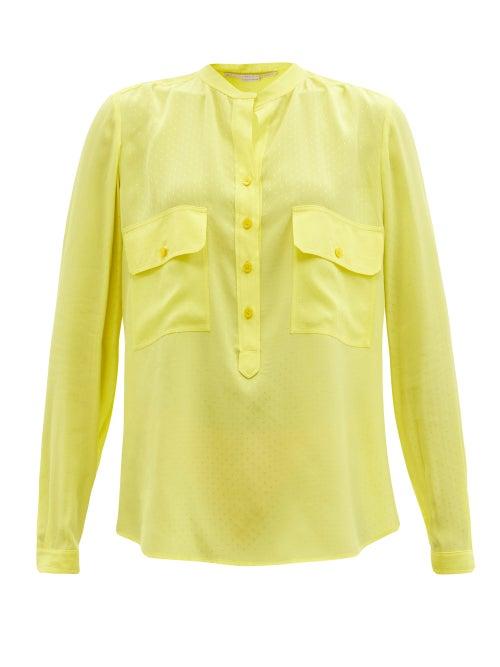 Stella Mccartney - Estelle Dotted-jacquard Blouse - Womens - Yellow