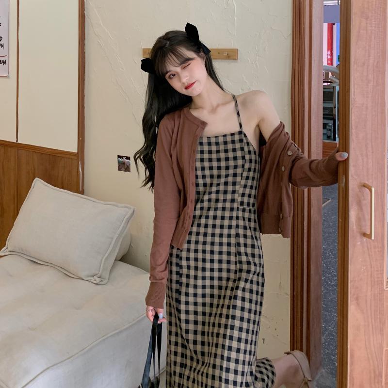 吊帶裙 171019港風復古顯瘦格子吊帶中長款連衣裙