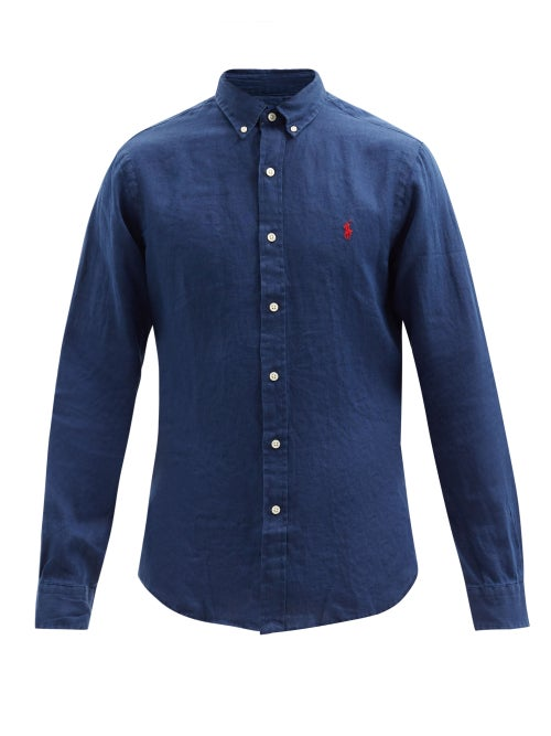 Polo Ralph Lauren - Logo-embroidered Linen Shirt - Mens - Navy